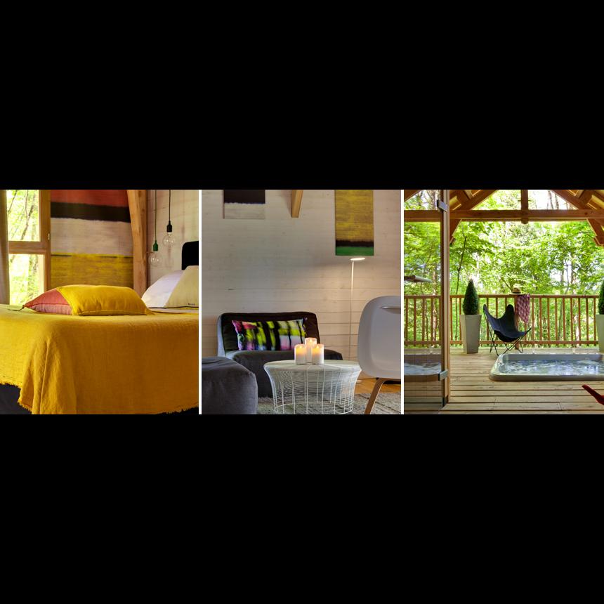 cypr s si haut cabane avec spa sauna tropical chambres d 39 h te saint mexant cl vacances. Black Bedroom Furniture Sets. Home Design Ideas